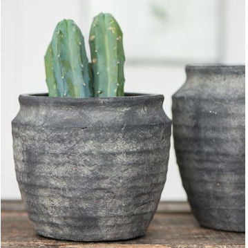 Grooved Rustic Grey Planter - Room Shot | Annie Mo's