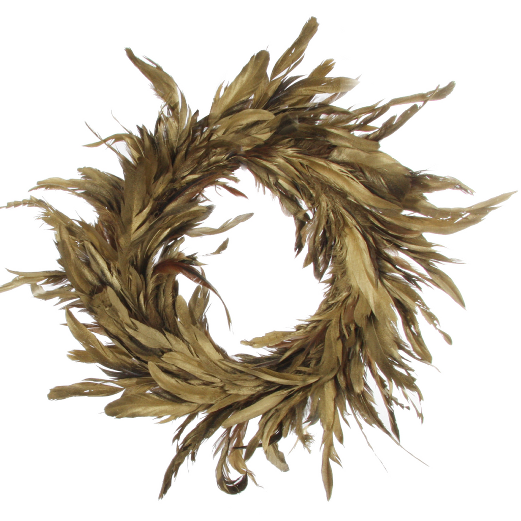 Feather Wreath Gold 40cm | Annie Mo's