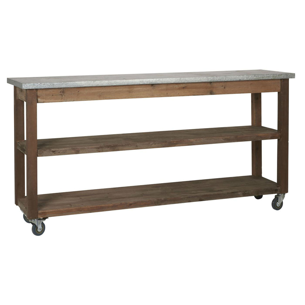 Zinc and Natural Wood Console Table | Annie Mo's