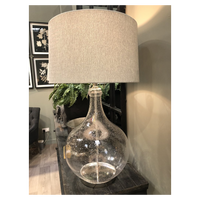Bubbled Glass Lamp with Grey Herringbone Shade 91cm | Annie Mo's