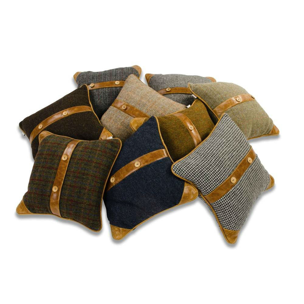 Belt and Button Cushions - Harris Tweed