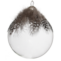 Glass Bauble with Grey Feather 8cm | Annie Mo's