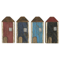 Set of Four Mini Wood Houses with White Windows 12cm | Annie Mo's