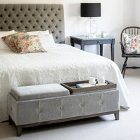 Grey Ottoman with Tray Top | Annie Mo's