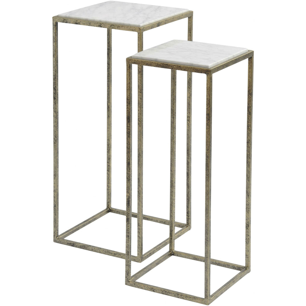 Distressed Iron and White Marble Tall Nesting Tables | Annie Mo's