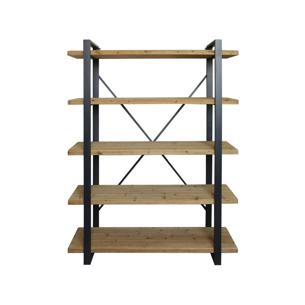 Fir Wood and Iron Five Tier Shelving Unit 198cm | Annie Mo's
