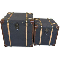 Set of Two Grey Fabric and Wood Trunks | Annie Mo's