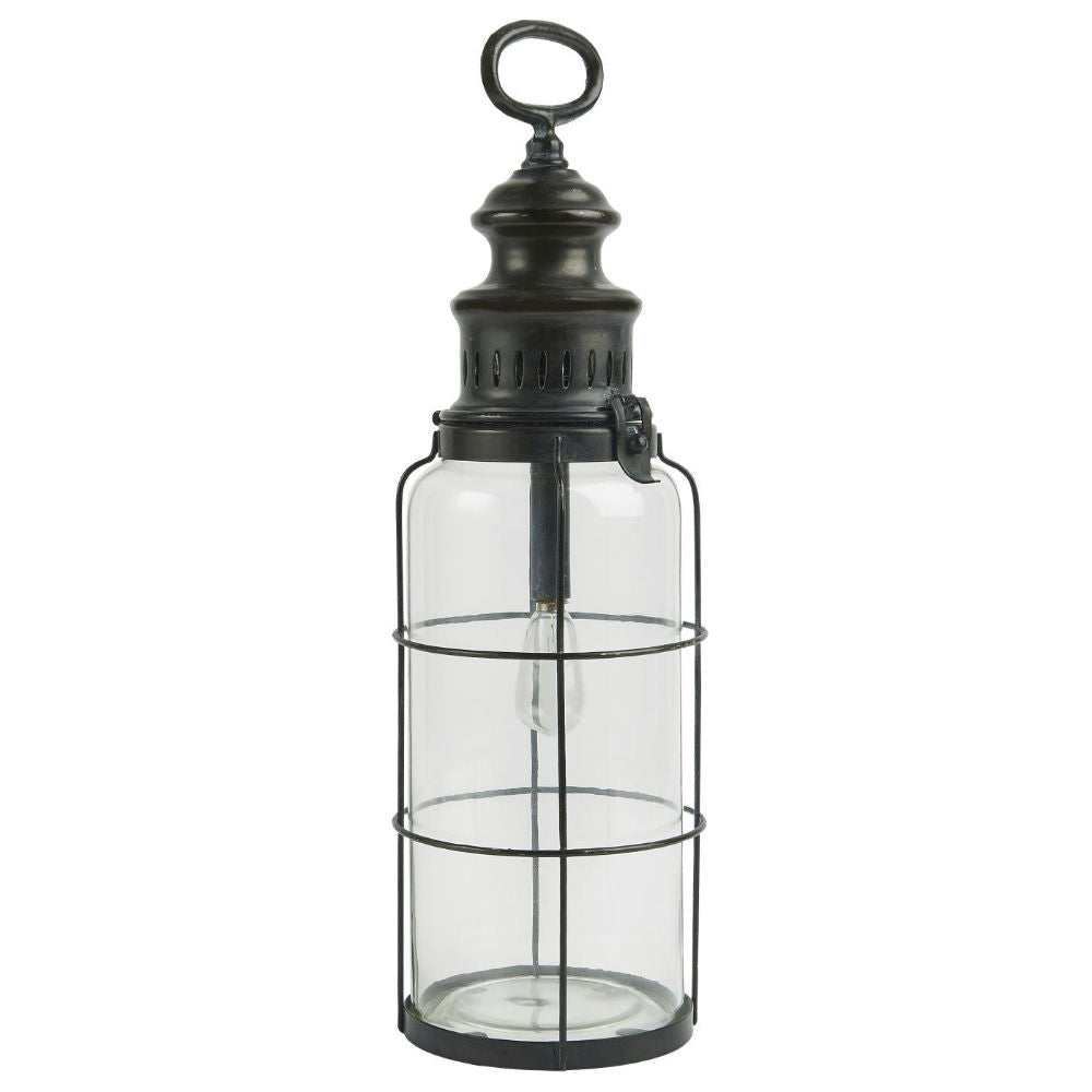 LED Metal and Glass Lantern 42cm | Annie Mo's