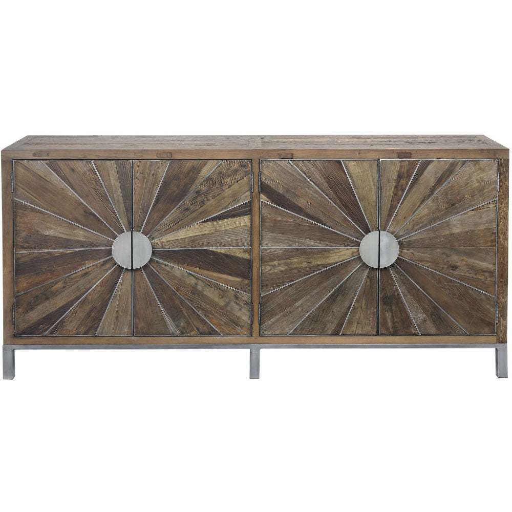 Sunburst Reclaimed Elm and Iron Sideboard 200cm | Annie Mo's