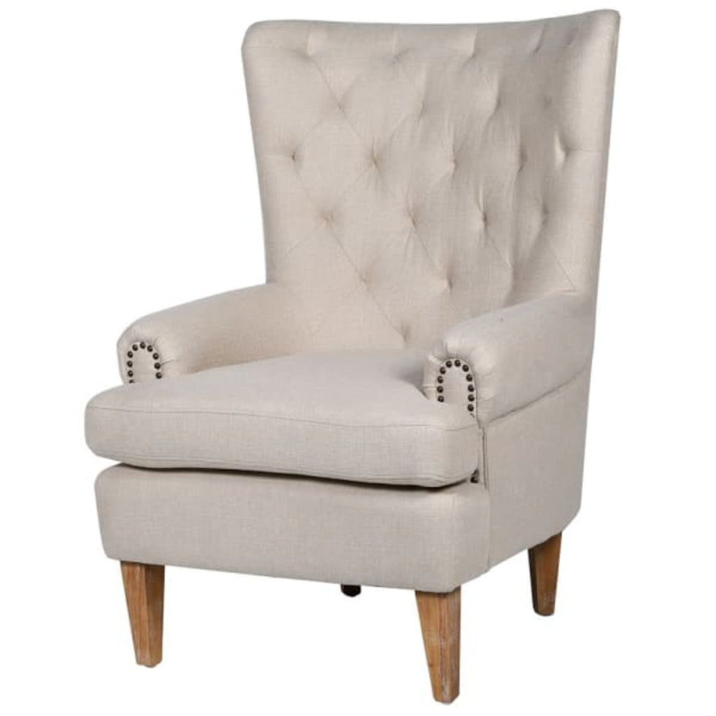 Upright Natural Linen Arm Chair with Studding | Annie Mo's