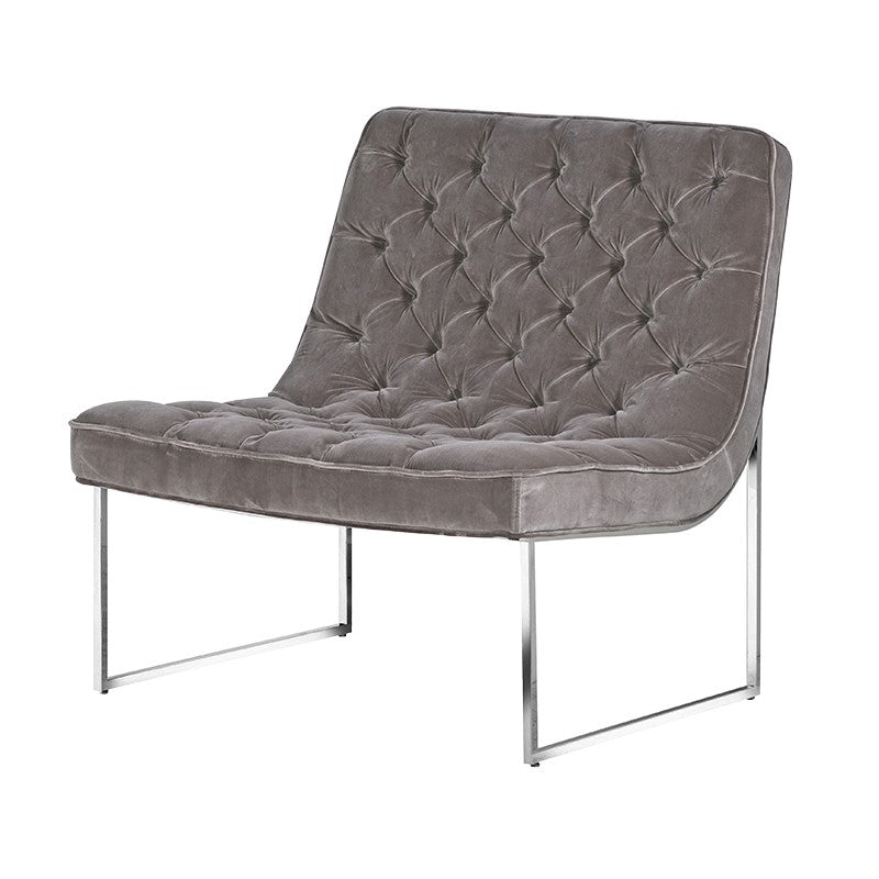 Velvet Mouse Grey Button Club Chair | Annie Mo's