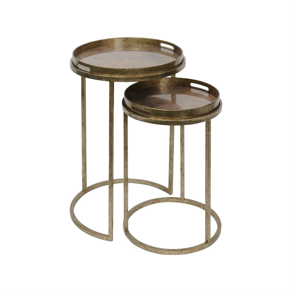 Antiqued Gold Effect Set of Two Side Tables | Annie Mo's