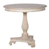 White Painted Mahogany Pedestal Table 81cm | Annie Mo's