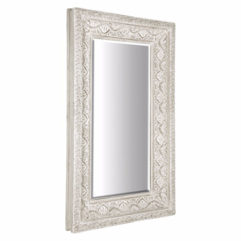 Large White Embossed Mirror | Annie Mo\'s