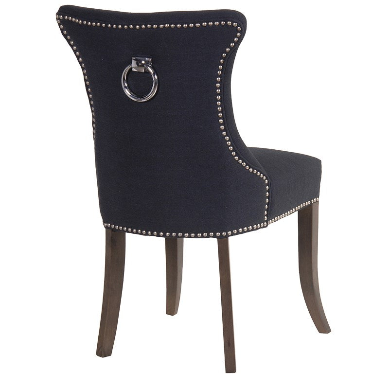 Studded Black Dining Chair with Ring | Annie Mo's