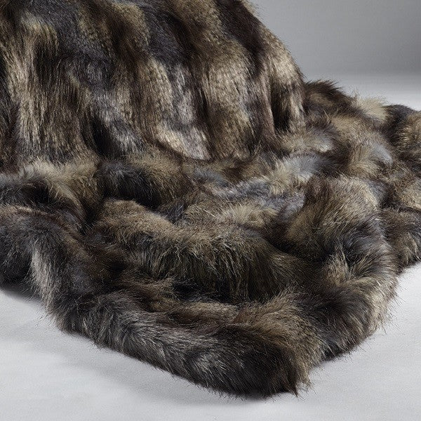 Animal Faux Fur Throw - Blue Wolf | Annie Mo's