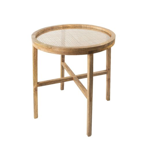 Round Cane Table with Glass Top 62cm | Annie Mo's