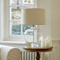 Clear Glass Table Lamp with Linen Shade - Room Shot | Annie Mo's