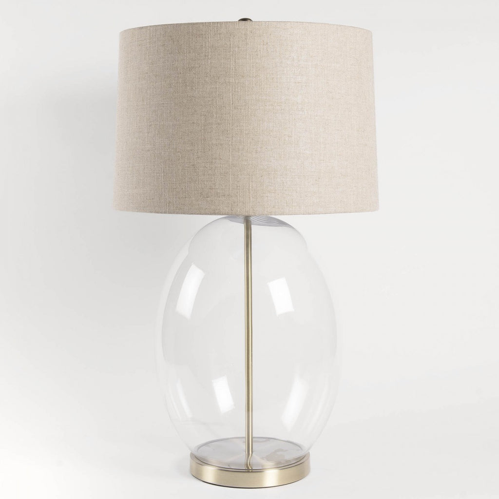 Oblong Glass Lamp with Natural Linen Shade 77cm | Annie Mo's