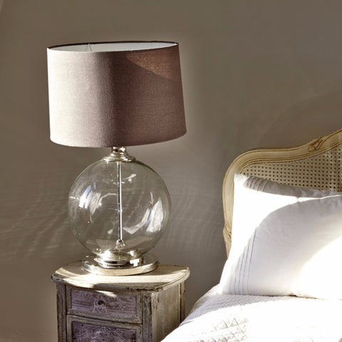 Glass Table Lamp with Linen Shade | Annie Mo's