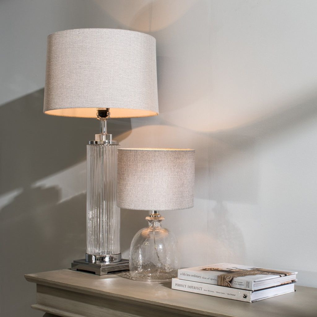 Metal and Glass Cylinder Table Lamp with Shade - Room Shot | Annie Mo's