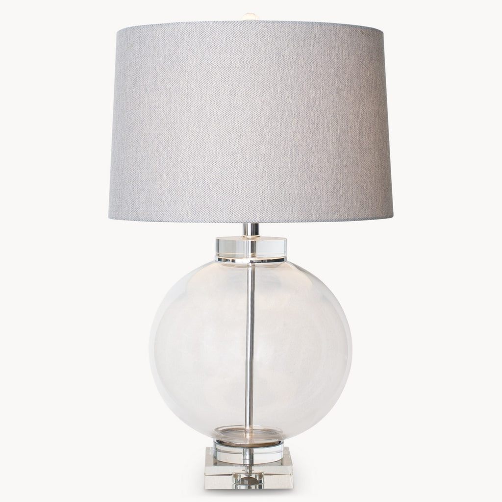 Round Glass and Solid Crystal Lamp with Shade