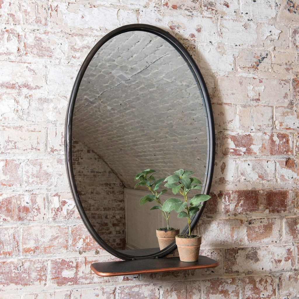 Oval Industrial Shelf Mirror 60cm | Annie Mo's