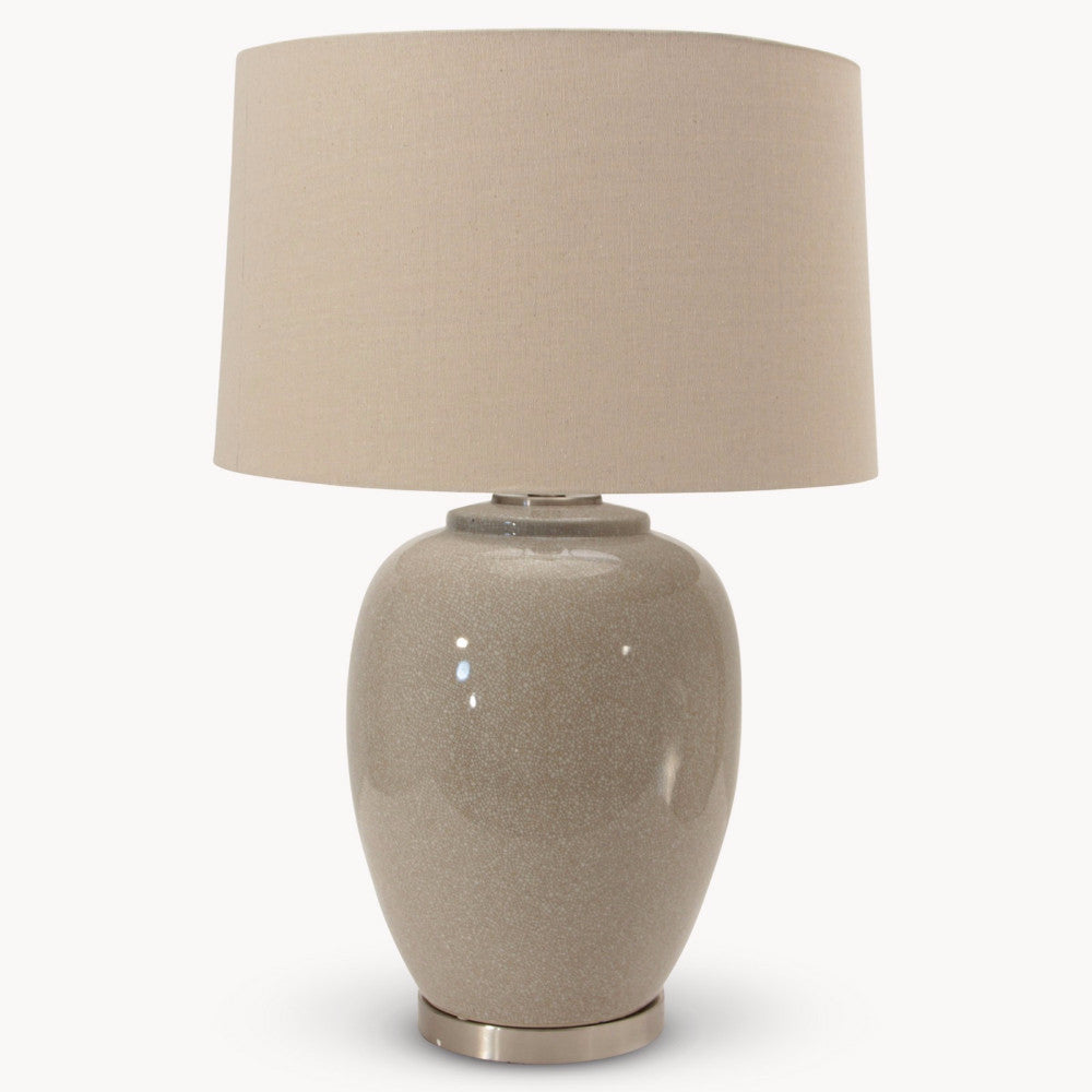 Glazed Ceramic Table Lamp with Natural Linen Shade | Annie Mo's