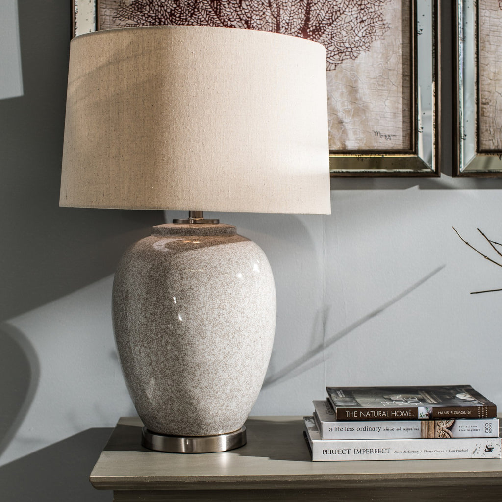 53452c18d158 Glazed Ceramic Table Lamp with Natural Linen Shade - Room Shot | Annie Mo's  ...
