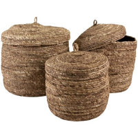 Set of Three Corn Lidded Baskets Cocoa  42cm | Annie Mo's