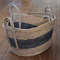 Set of Three Seagrass Oval Baskets Indigo Band with handles 50cm | Annie Mo's