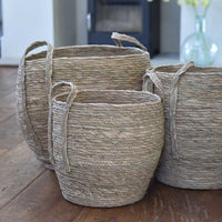 Set of Three Seagrass Barrel Baskets with Handles 40cm | Annie Mo's