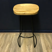 Weathered Oak & Metal Stool