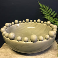 Emmerdale Grey Crackle Glazed Large Bowl with Ball Detail | Annie Mo's