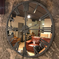 Grey Framed Mirrored Wall Clock 68cm