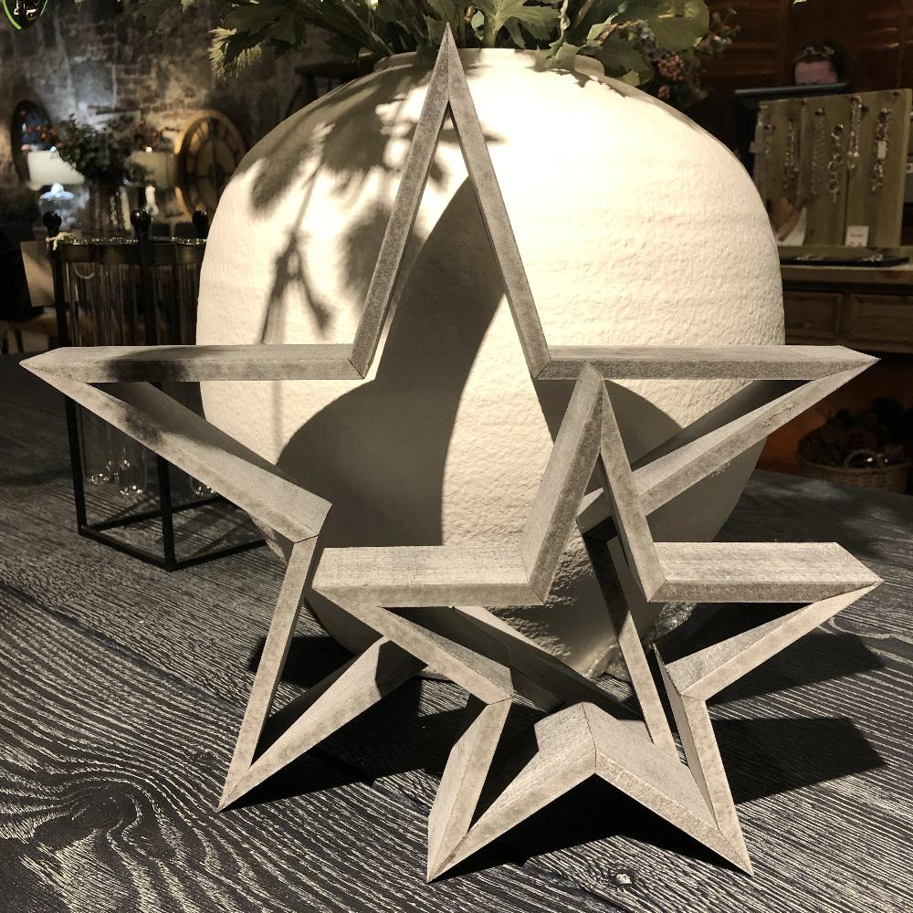 Set of Two Grey Wooden Stars 37cm | Annie Mo's