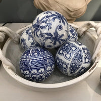 Set of Six Assorted Blue and White Ceramic Balls | Annie Mo's