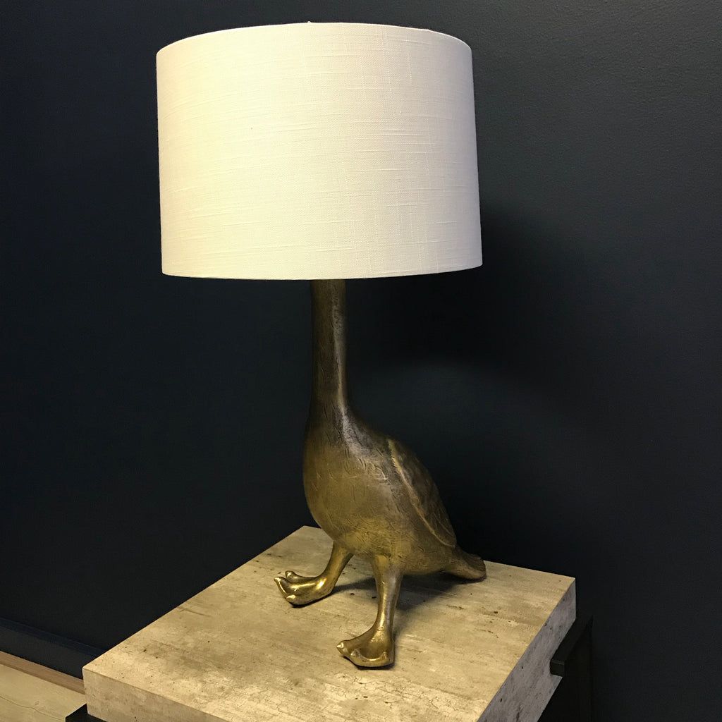 Gold Effect Goose Lamp With Shade | Annie Mo's