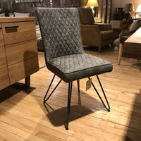Fusion Dining Chair - Grey and Metal - Room Shot | Annie Mo's