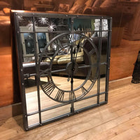 Grey Square Mirrored Framed Wall Clock 70cm