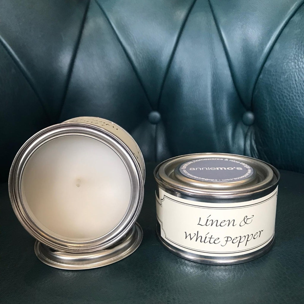 Linen and White Pepper Annie Mo's Tinned Candle | Annie Mo's