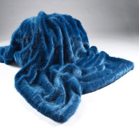 Plain Faux Fur Throw - London Bluestone | Annie Mo's