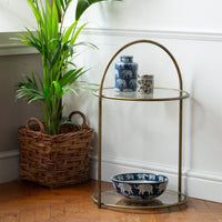 Round Antiqued Brass Side Table | Annie Mo's