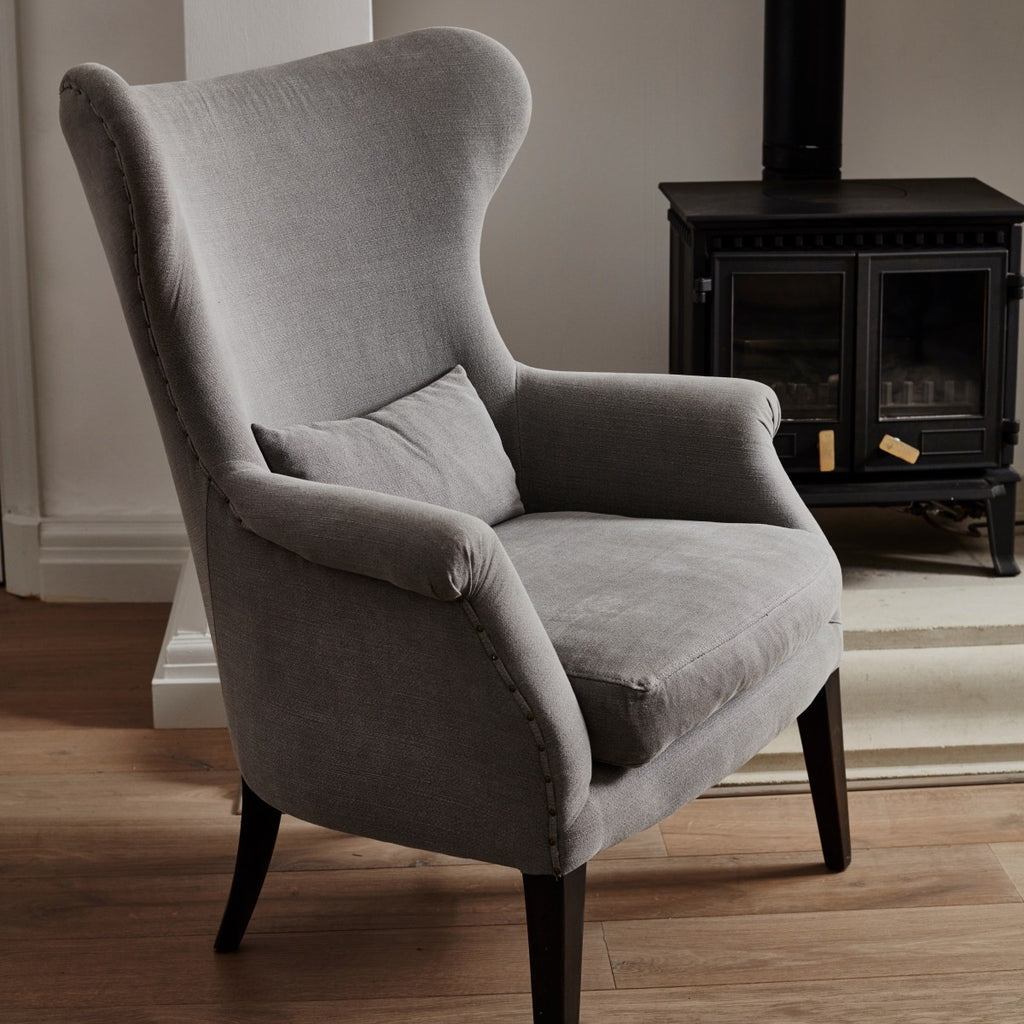 Stone Grey Linen Occasional Chair | Annie Mo's