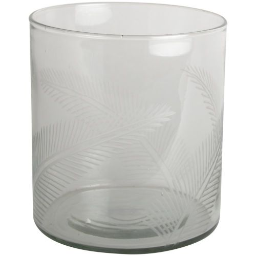 Hurricane Glass Etched Fern Leaf 16cm | Annie Mo's