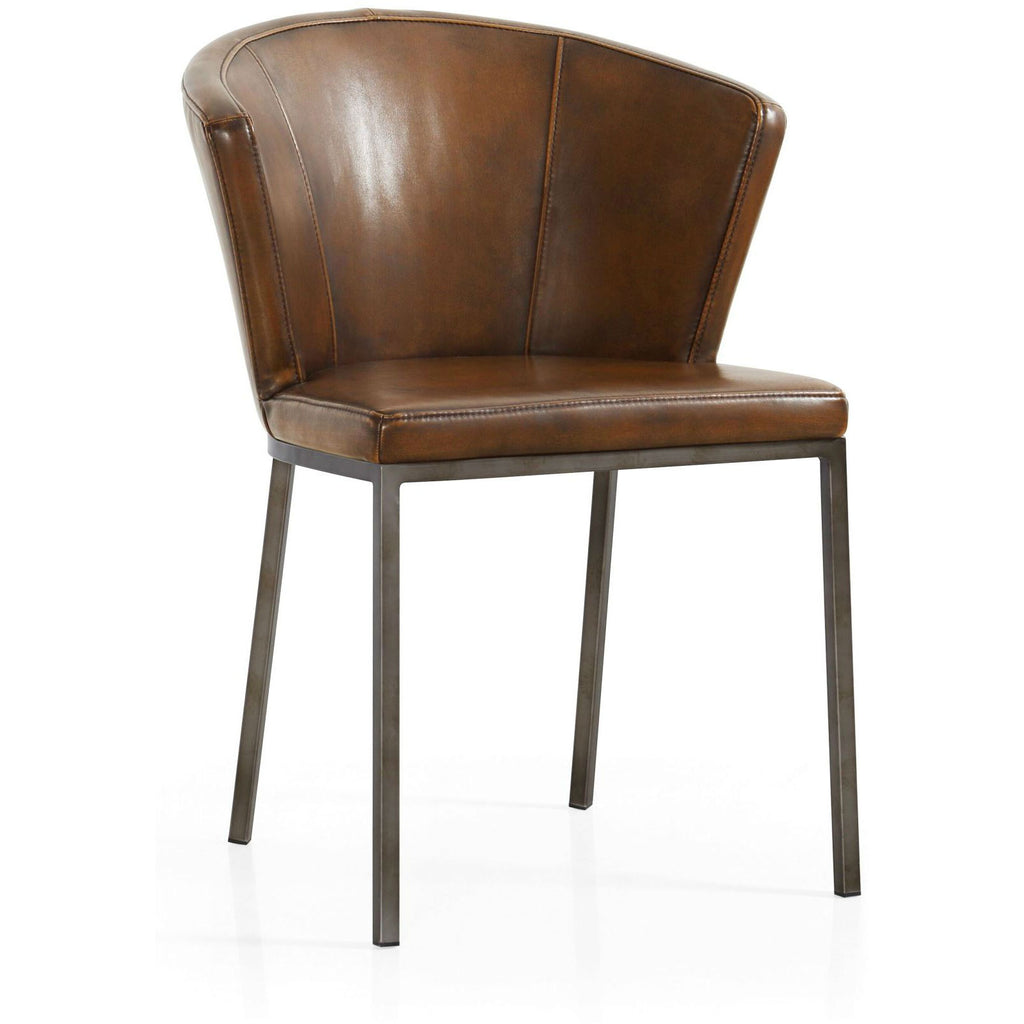 Retro Curved Back Faux Leather Dining Chair | Annie Mo's