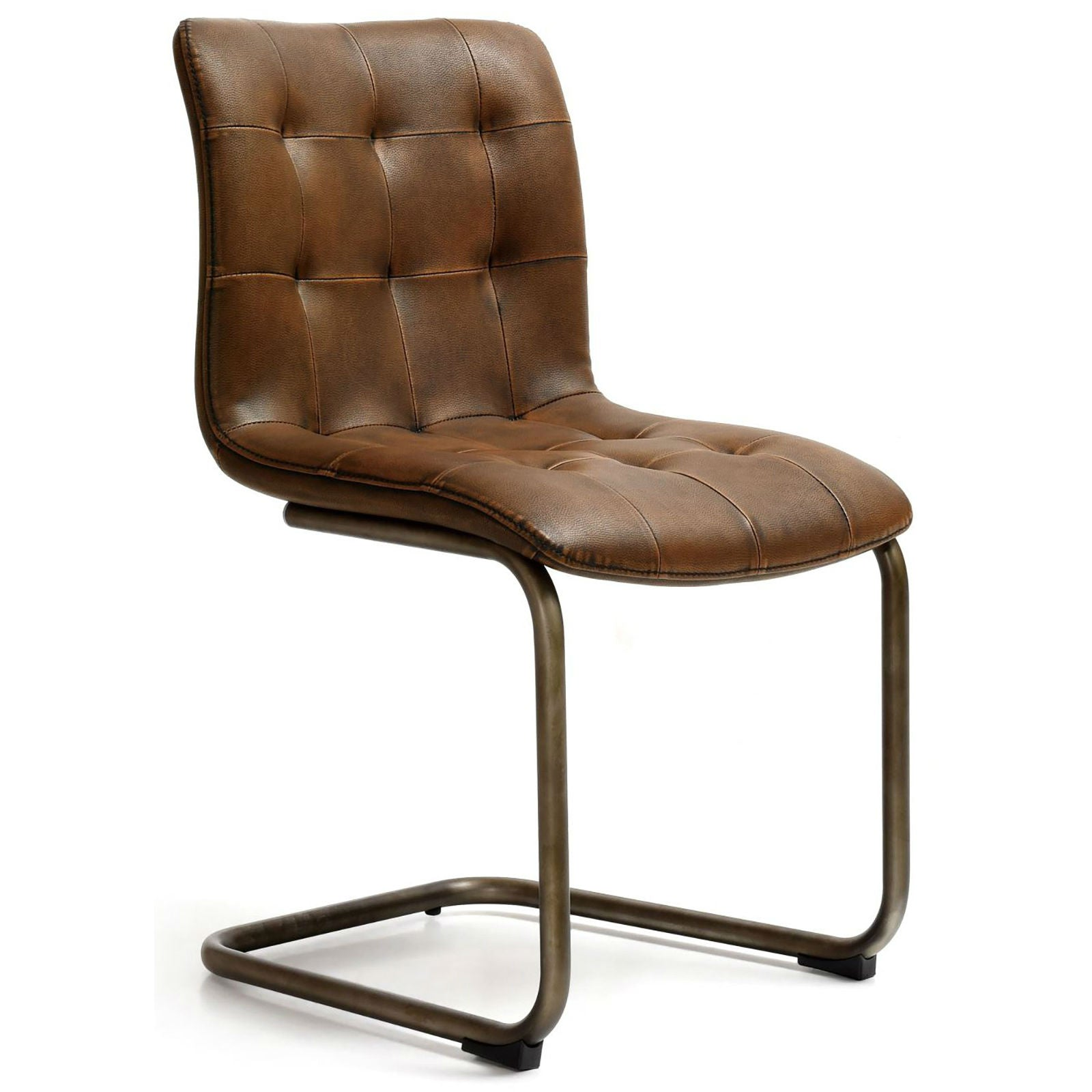 Button back faux leather industrial dining chair annie mos