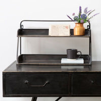 Shelf Desk Tidy  in Antiqued Black Brass 54cm | Annie Mo's