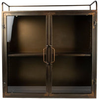 Double Wall Cabinet with Glass Doors in Antiqued Brass | Annie Mo's