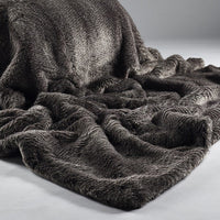 Two Toned Faux Fur Throw -  Grey Oyster | Annie Mo's